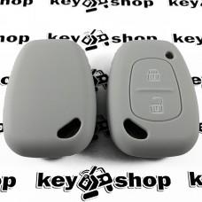 Чехол (серый, силиконовый) для авто ключа Nissan (Ниссан) 2 кнопки