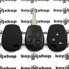 Чехол (черный, силиконовый) для авто ключа Nissan (Ниссан) 3 кнопки