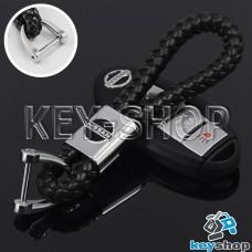 Кожаный плетеный (черный) брелок для авто ключей Nissan (Ниссан)