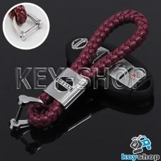 Кожаный плетеный (бордовый) брелок для авто ключей Nissan (Ниссан)