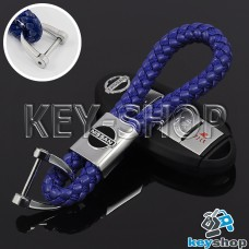 Кожаный плетеный (синий) брелок для авто ключей Nissan (Ниссан)