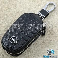 Ключница карманная (черная, кожаная, с тиснением, на молнии, с карабином, с кольцом) логотип авто Opel (Опель)