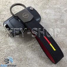 Кожаный замшевый (черный) брелок для авто ключей с логотипом Opel (Опель) и хромированным карабином