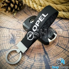 Брелок для авто ключей Опель (Opel) кожаный (черный, узкий) с хромированной фурнитурой