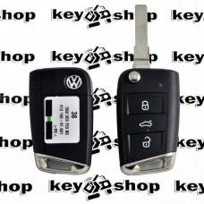 Оригинальный корпус выкидного ключа Volkswagen (Фольксваген) - 3 кнопки, лезвие HU66