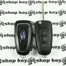 Оригинальный корпус выкидного ключа для FORD (Форд) Fiesta, Focus, C-Max, Mondeo, Galaxy, Transit, 3 кнопки, лезвие HU101