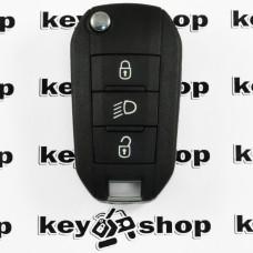 Оригинальный выкидной ключ для PEUGEOT 208, 308, 2008, 5008 (Пежо), 3 кнопки, ID 46 (PCF 7941) 433MHZ