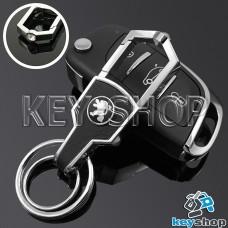 Металлический брелок для авто ключей Пежо (Peugeot) с карабином и кожаной вставкой