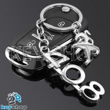 Металлический брелок для авто ключей Пежо 408 (Peugeot 408)