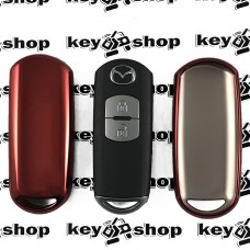 Чехол (красный, полиуретановый) для смарт ключа Mazda (Мазда)
