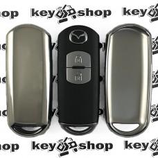 Чехол (серебристый, полиуретановый) для смарт ключа Mazda (Мазда)