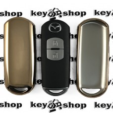 Чехол (золотистый, полиуретановый) для смарт ключа Mazda (Мазда)