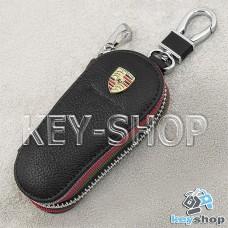 Ключница карманная (кожаная, черная, на молнии, с карабином, с кольцом), логотип авто Porsche (Порше)