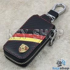 Ключница карманная (кожаная, черная, под карбон, на молнии, с карабином, с кольцом), логотип авто Porsche (Порше)