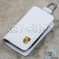 """Ключница карманная (белая, """"змеиная кожа"""", на молнии, с карабином, с кольцом), логотип авто Porsche (Порше)"""