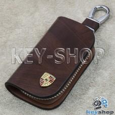 Ключница карманная (кожаная, коричневая, с узором, на молнии, с карабином, с кольцом), логотип авто Porsche (Порше)