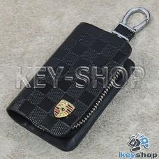 Ключница карманная (кожаная, черная, с тиснением, на молнии, с карабином, с кольцом), логотип авто Porsche (Порше)