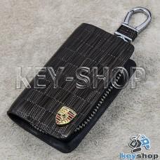 Ключница карманная (кожаная, коричневая, с тиснением, на молнии, с карабином, с кольцом), логотип авто Porsche (Порше)