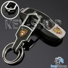 Металлический брелок для авто ключей PORSCHE (Порше) с карабином и кожаной вставкой