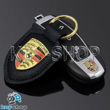 Кожаный (черный) брелок для авто ключей Porshe (Порше)