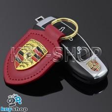 Кожаный (красный) брелок для авто ключей Porshe (Порше)