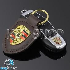 Кожаный (коричневый) брелок для авто ключей Porshe (Порше)