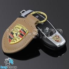 Кожаный (светло - коричневый) брелок для авто ключей Porshe (Порше)