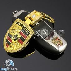 Металлический брелок для авто ключей Порше (Porsche) золото