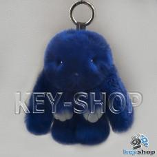 Синий пушистый меховой брелок кролик, с кольцом на сумку, рюкзак