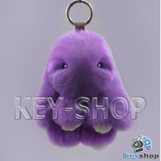Фиолетовый пушистый меховой брелок кролик, с кольцом на сумку, рюкзак