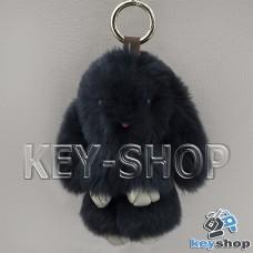 Темно - синий пушистый меховой брелок кролик, с кольцом на сумку, рюкзак