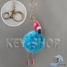 Голубой пушистый меховой брелок фламинго, на сумку, рюкзак с кольцом и карабином