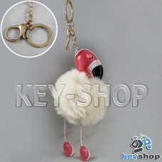 Белый пушистый меховой брелок фламинго, на сумку, рюкзак с кольцом и карабином