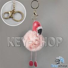 Розовый пушистый меховой брелок фламинго, на сумку, рюкзак с кольцом и карабином