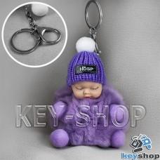 Фиолетовый пушистый меховой брелок куколка, на сумку, рюкзак с кольцом и карабином