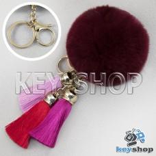 Бордовый пушистый брелок шарик из натурального меха с кольцом, карабином и разноцветными кисточками, на сумку