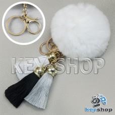 Белый пушистый брелок шарик из натурального меха с кольцом, карабином и разноцветными кисточками, на сумку