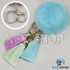 Голубой пушистый брелок шарик из натурального меха с кольцом, карабином и разноцветными кисточками, на сумку