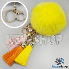 Желтый пушистый брелок шарик из натурального меха с кольцом, карабином и разноцветными кисточками, на сумку