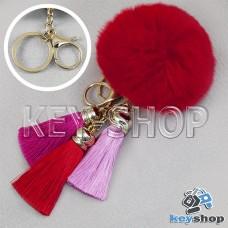 Красный пушистый брелок шарик из натурального меха с кольцом, карабином и разноцветными кисточками, на сумку