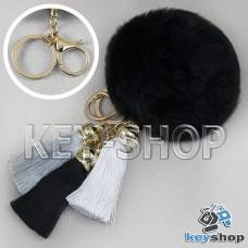 Черный пушистый брелок шарик из натурального меха с кольцом, карабином и разноцветными кисточками, на сумку