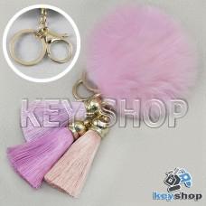 Розовый пушистый брелок шарик из натурального меха с кольцом, карабином и разноцветными кисточками, на сумку