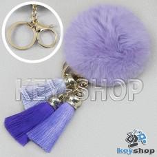 Фиолетовый пушистый брелок шарик из натурального меха с кольцом, карабином и разноцветными кисточками, на сумку