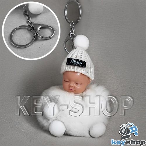 Белый пушистый меховой брелок куколка, на сумку, рюкзак с кольцом и карабином