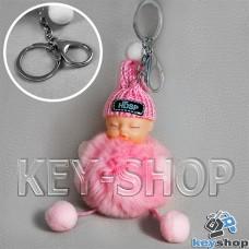 Розовый пушистый меховой брелок куколка, на сумку, рюкзак с кольцом и карабином