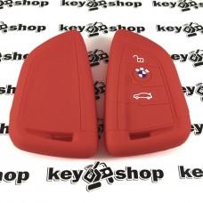 Чехол (красный, силиконовый) для смарт ключа BMW (БМВ) 3 кнопки