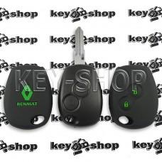 Чехол силиконовый авто ключа RENAULT (Рено) 2 кнопки (черный с зелеными кнопками)