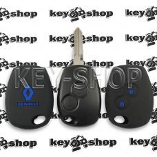 Чехол силиконовый авто ключа RENAULT (Рено) 2 кнопки (черный с синими кнопками)