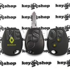 Чехол силиконовый авто ключа RENAULT (Рено) 2 кнопки (черный с желтыми кнопками)