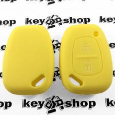 Чехол (желтый, силиконовый) для авто ключа RENAULT (Рено) 2 кнопки